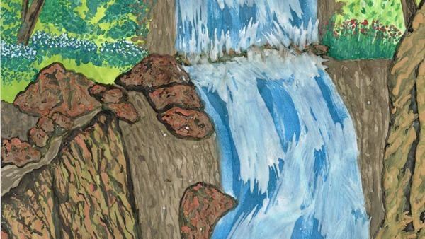 Greeting card: Waterfall